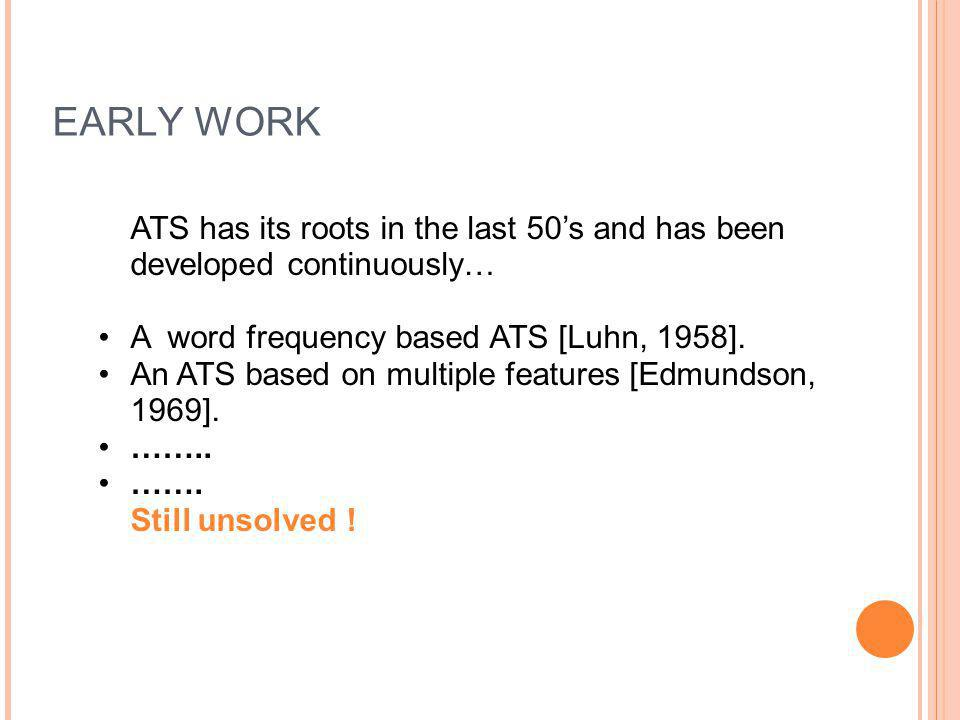 EARLY WORK ATS has its roots in the last 50's and has been developed continuously… A word frequency based ATS [Luhn, 1958].